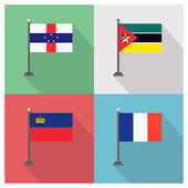 The flat design of the 4 country flags on the flagpoles  Vector illustration template design Flag of Mozambique - Flag of France - Flag of Netherlands Antilles - Flag of Liechtenstein