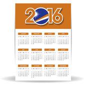2016 kalendář s vlajkou Marshallových ostrovů