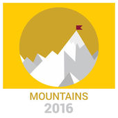 Vector 2016 Leadership concept illustration landscape with flag on the mountain peak Success illustration Goal achievement Business concept Mission brochure title page template vector illustration