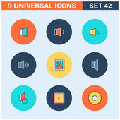 Abstract vector collection of colorful flat Universal Icons set Big package of modern minimalist thin line icons Design elements for mobile and web applications