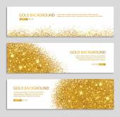 Gold banner with glitter background