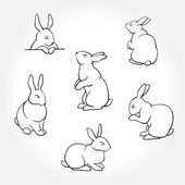 Rabbit white silhouettes Rabbit ink silhouettes logo icon and tatoo