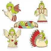 Csodálatos színes angyalok csoportja