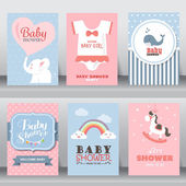 Happy birthday holiday baby shower celebration greeting and invitation cards  there are shoes moon dress layout template in A4 size vector illustration