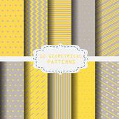 10 modelli differenti di gialli e grigi. Struttura senza fine può essere utilizzato per carta da parati, riempimenti a motivo, sfondo della pagina web, strutture di superficie