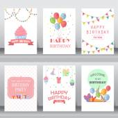 Happy birthday holiday christmas greeting and invitation card  there are balloon gift boxes confetti cup cake layout template in A4 size vector illustration