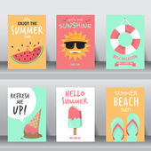 Summer backgrounds set. can be use for greeting and invitation cards.  backgrounds , backdrops. flat design. vector illustration
