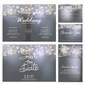Wedding invitation cards and Thank you cards  templates lights and trees concept vector illustration