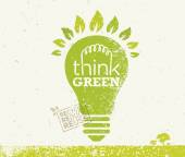 Think Green Recycle Reduce Reuse Eco Poster Vector Creative Organic Illustration On Paper Background