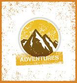 Outdoor Adventure Mountain Sunrise Creative Vector Design Element On Grunge Background