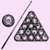 Set of billiard balls in triangle billiard ball and cue doodle style sketch illustration hand drawn vector