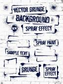 Různá barva ve spreji graffiti na zdi. Rám s černým inkoustem skvrny. Sprej grunge pozadí