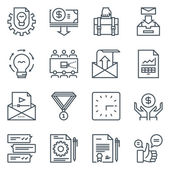 Project development icon set suitable for info graphics websites and print media Black and white flat line icons