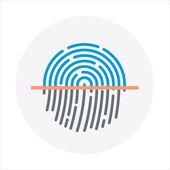Azonosító, ujjlenyomat téma, lapos stílusú, színes, vektor, ikon f