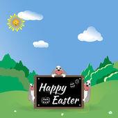 Három húsvéti nyuszi a erdei tisztáson