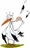 Roztomilý čáp nese dítě chlapec