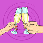 Vector hand drawn pop art illustration of man and woman hands holding glasses of champagne Retro style Cheering with glasses Hand drawn sign Illustration for print web