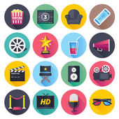 Flat style with long shadows movie and theater themed vector illustrations Circle icon set