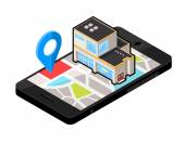 Vector Isometric Icon illustration for  Smart phone navigation - To a Large Department Store.