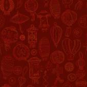 Grafický vzor bezešvé s stylizované lucerny a mince. Chine