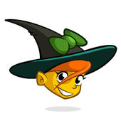 Cartoon witch face Vector clip art illustration of Halloween witch head icon
