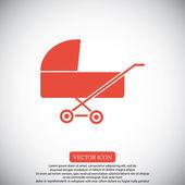 Illustrazione vettoriale del bambino carrozzina icona