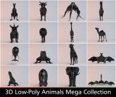 3d black low poly animals collection