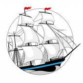 Sailing ship with white sails in a circle