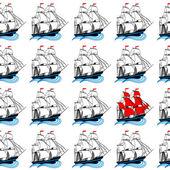 Segelschiffe mit roten und weißen Segeln