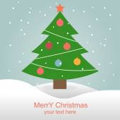 Christmas tree with toys Christmas card Vector illustration