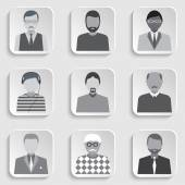 Set of icons isolated men Done in black white gray tone  Vector  illustration