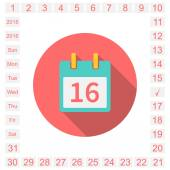 Calendar  icon  event icon  calendar page easily editable all dates of the month and days of the week 2015 2016 Vector illustration