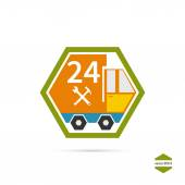 Delivery service emergency service 24 hours Icon auto truck Vector Illustration