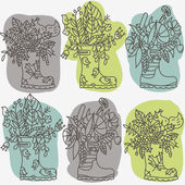 Cute rubber boots with plants and animals outline vector illustration