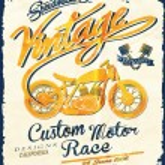Постер, плакат: Vector vintage motorcycle print