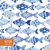 Könnyű akvarell kék halak a fekete háttér