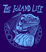 The island life iguana illustration available for print design