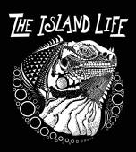 The island life iguana illustration available for print design black and white
