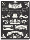 Retro vintage banner and ribbon set Vector illustration design elements with textured background