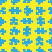 The pattern of blue puzzle on a yellow background