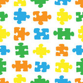 The pattern of colored puzzles on a white background