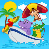 állatok a csónak lovagol majom a nyitjára vitorlázógép