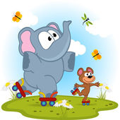 Elephant and mouse roller skating - vector illustration eps