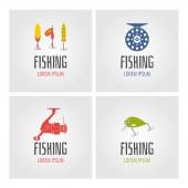 Set Fishing Logos and design elements Vector Illustration