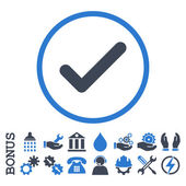 Ok glyph bicolor icon. Image style is a flat pictogram symbol inside a circle, smooth blue colors, white background. Bonus images are included.