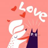 Love Valentine's Day Card With Cat And Dog Against Pink Background