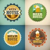 Set of beer house labels Vector illustration