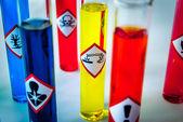 Multicolored Chemistry vials - Focus on corrosive danger