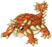 A cute cartoon clip art pixel art illustration of an ankylosaurus standing in a battle-ready pose Created in the 8-bit or 16-bit art style of video games from the 80's and 90's! The pixel blocks are individually editable vector shapes