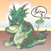 A self-conscious Styracosaurus dinosaur is applying makeup and is startled by a twig snapping behind him mortified that another dinosaur might see him Good for non sequitur or concepts about vanity glamour or gender roles